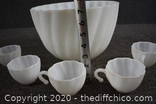 Milk Glass Punch Bowl w/5 Matching Cups