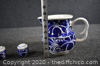 Blue and White Pitcher, Salt and Pepper