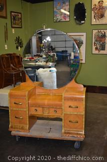 Vintage Waterfall Vanity w/Beveled Oval Mirror