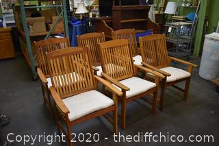 6 Teak Wood Chairs w/Cushions