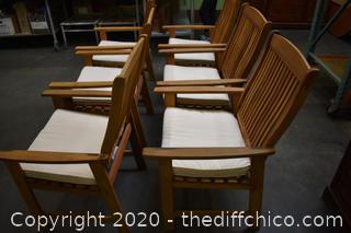 6 Teak Wood Chairs w/Cushions