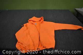 Orange Zipper Sweat Shirt Size M