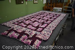 Quilt and 3 Pillows