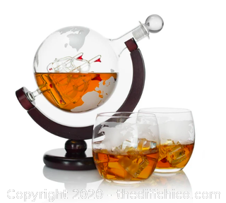 Atterstone Globe Whiskey Decanter Set (J18)