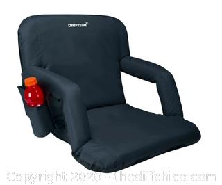 Driftsun Folding Stadium Seat, Reclining Bleacher Chair - Standard Width Black (J80)
