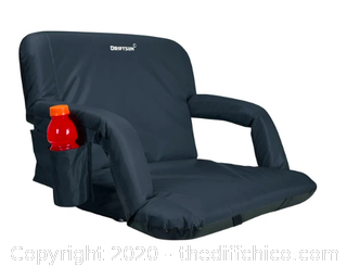 Driftsun Folding Stadium Seat, Reclining Bleacher Chair - Deluxe Width Black (J82)