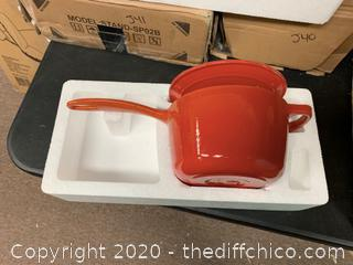 Zelancio 2 Quart Enameled Cast Iron Sauce Pan with Lid - Orange (J87)