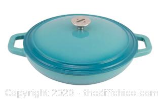 Zelancio 3 Quart Enameled Cast Iron Casserole Dish with Lid - Teal (J88)
