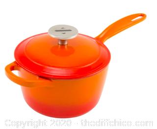 Zelancio 2 Quart Enameled Cast Iron Sauce Pan with Lid - Orange (J91)