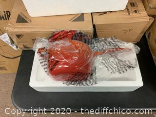 Zelancio 2 Quart Enameled Cast Iron Sauce Pan with Lid - Orange (J90)