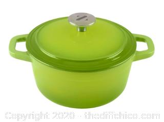 Zelancio  3 Quart Enameled Cast Iron Dutch Oven with Lid - Green (J94)