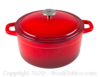 Zelancio  3 Quart Enameled Cast Iron Dutch Oven with Lid - Red (J96)