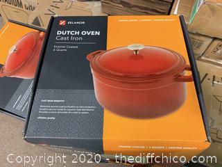 Zelancio 6 Quart Enameled Cast Iron Dutch Oven with Lid - Teal (J100)