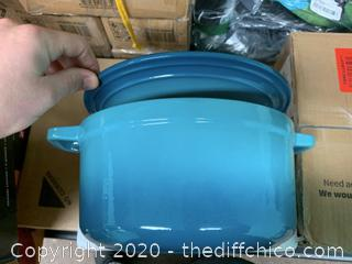 Zelancio 6 Quart Enameled Cast Iron Dutch Oven with Lid - Teal (J101)