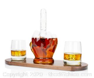 Atterstone Whiskey Middle Finger Decanter Set (J103)
