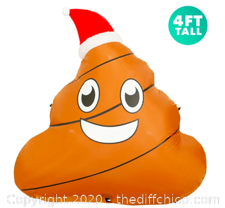 Holidayana 4 ft Inflatable Christmas Poop Outdoor Decoration with LED Lights (J117)
