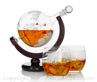 Atterstone Globe Whiskey Decanter Set (J123)