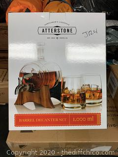 Atterstone Whiskey Barrel Decanter Set (J124)