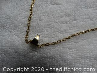 Gold Colored Chain With Pendant needs repair