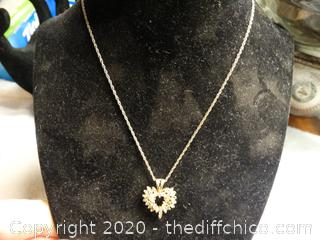 Heart Necklace With Stones