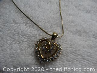 Heart Necklace With Stones With Matching Earrings
