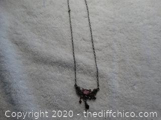 Necklace With Pink Stones