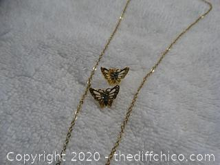 Butterfly Necklace With Matching Earrings