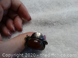 Ring With Orange Stone Size 8