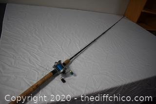 102in long Lamiglas Fishing Pole and Sears Levelwind Reel