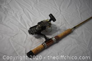 76 1/4in long True Cast Square Pole and Master 308 Reel