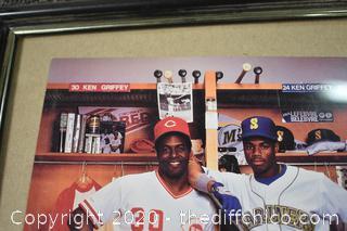 Framed Signed Photo of Ken Grffey and Ken Griffey Jr