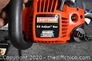 Working Craftsman Chain Saw w/16in Bar, Carry Case and More