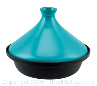 Zelancio 2.4 Quart Enameled Cast Iron Moroccan Tagine Pot with Ceramic Lid - Teal (J2)