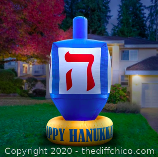 Holidayana Inflatable Dreidel Hanukkah Decoration with Built-In Fan and LED Lights (J6)