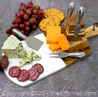 Zelancio 6 Piece Marble and Acacia Wooden Serving Cheese Board Set (J21)