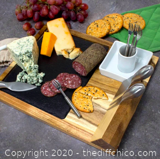 Zelancio Slate Cheese Board Set, 10 Piece Set (J22)