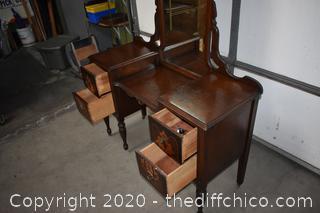 Vintage Walnut Vanity w/casters