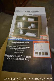 NIB 3 Shelf Bookcase