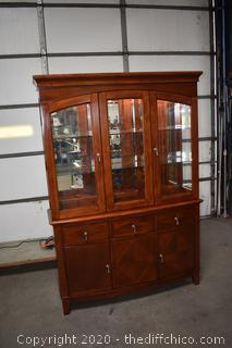 2 Piece Mahogany Hutch Mirror Back, Lights and Glass Shelves