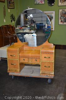 Vintage Waterfall Vanity w/Mirror