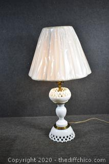 Working Milk Glass Lamp w/Shade