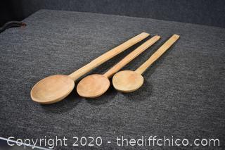 3 Decorative Wood Spoons