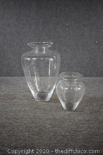 2 Made in Poland Glass Vases