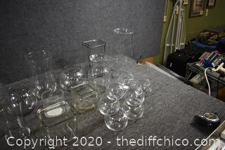 Large Lot of 24 Pieces of Glass Vases and More