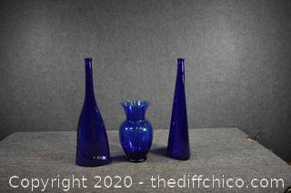 3 Cobalt Blue Vases