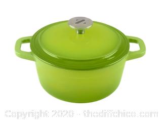 Zelancio 3 Quart Enameled Cast Iron Dutch Oven with Lid - Green (J1)