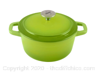Zelancio 3 Quart Enameled Cast Iron Dutch Oven with Lid - Green (J2)