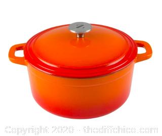 Zelancio 3 Quart Enameled Cast Iron Dutch Oven with Lid - Orange (J3)