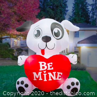 Holidayana Inflatable Valentines Day Dog with Heart Decoration with Built-In Fan and LED Lights (J7)