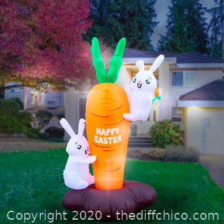 Holidayana Inflatable Easter Bunny Climbing Carrot Decoration with Built-In Fan and LED Lights (J21)